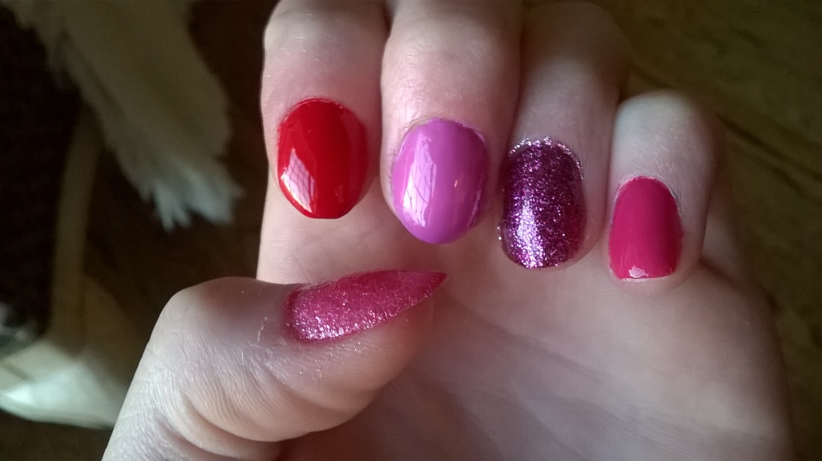 Light Pink Glitter Nail Polish i Have a Light Pink Polish on